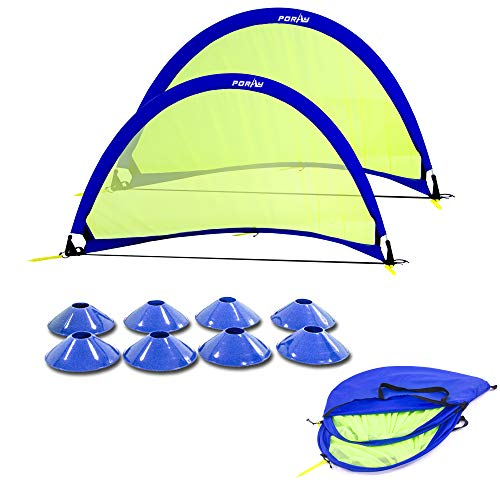 Poray Soccer Goal for Kid,Easy-up Set of Two 2 Portable 4FT Goal,Pop-up Soccer Nets with 210D Oxford Carry Bag and 8 Field Marker Cones Extra Metal Pegs. Fun for Parks or Backyard Training (Blue)