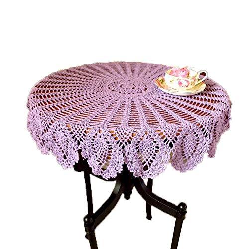 Laivigo New Handmade Crochet Lace Round Table Cloth Doilies Doily,35 Inch,Lilac