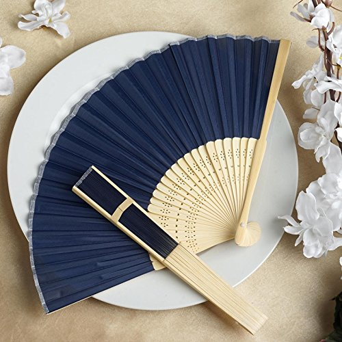 Efavormart Lot of 50 Wholesale Silk Folding Birthday Banquet Event Wedding Party Favor Fans - Lot of 50| Color| Navy Blue