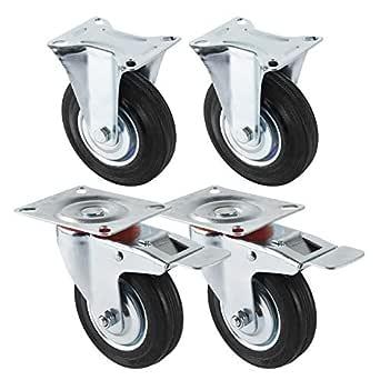 Miafamily transporte ruedas ruedas ruedas para muebles con freno Ruedas y cargas pesadas ruedas ruedas fijas Negro Goma Chapa de acero galvanizado, 4 unidades en Set carga 300 kg/150 kg, 125mm