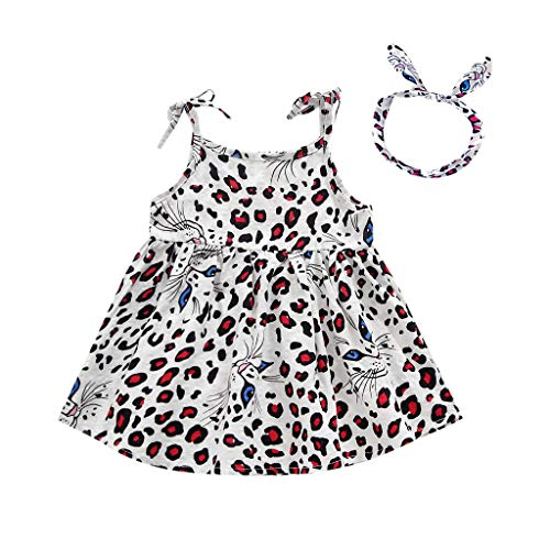 RYGHEWE Toddler Kids Baby Girls Leopard Princess Beach Sundress Cute Bow-Knot Sleeveless Straps Dress White]()