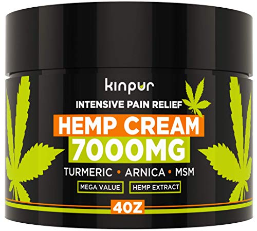 Hemp Cream for Pain Relief & Inflammation - 7000 Mg - Made in USA - Recover Arthritis, Muscle Strain, Stiff Joints, Achy Hands, Knees, Fingers - with Msm - Emu Oil - Arnica - Turmeric - 4 Oz (Best Foot Pain Relief Cream)