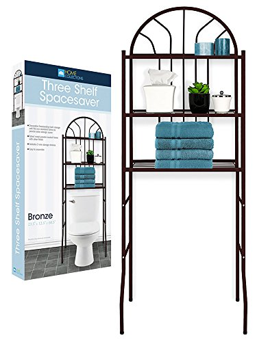 A1 Home Collections BA-9092 Bathroom Space Saver Over the Toilet 3 Shelves (Brown) by A1 Home Collections