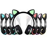 Wireless Bluetooth Cat Ear Headphone with 7 Colors LED Light Flashing Glowing Earphones On-Ear Stereo Headset for Kids Girls