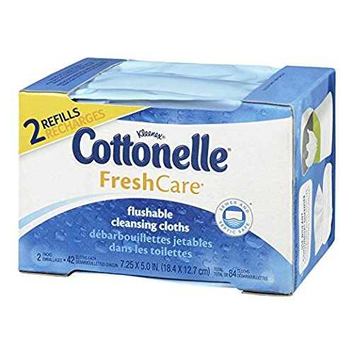 Cottonelle Fresh Care Flushable Cleansing Cloths Refills 84 Count Packages - Packaging May Vary - 2 Pack (168 Count)