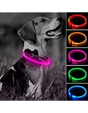 Clan-X LED Dog Collar, USB Rechargeable Glow in The Dark Flashing Pet Collar, High Visible DIY Light Up Doggy Collars for Night Dog Walking (Pink)