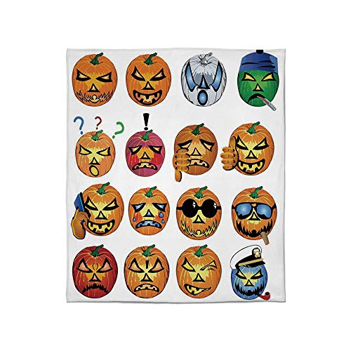 YOLIYANA Lightweight Blanket,Halloween Decorations,for Bed Couch Chair Fall Winter Spring Living Room,Size Throw/Twin/Queen/King,Carved Pumpkin with Emoji Faces Halloween Humor]()