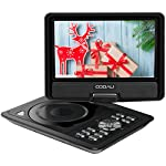 COOAU 11.5'' Portable DVD Player with 9.5'' Swivel Screen, 5 Hour Rechargeable Battery, Support USB/SD Card, Direct Play in Formats AVI/RMVB/MP3/JPEG, Black