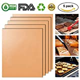Kibon BBQ Grill Mat Charcoal BBQ Copper Grilling Mats 100% Non Stick, Reusable, FDA-Approved & Easy to Clean for Electric Grill, Gas, Microwave, Charcoal and Toaster Oven 15.7 x 13 Inch (5 PCS)