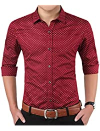 Men's Long Sleeve Button Up Point Collar Cotton Printed Dress Shirt