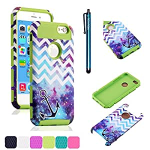 iPhone 5C Case MOUKOU(TM) Unique Hybrid Impact Chevron with Anchor on Galaxy Pattern Case Cover for iphone5c(G-Green)