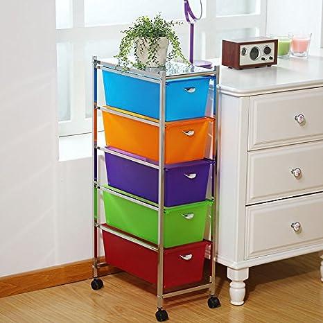 Bastidores de almacenamiento muebles de baño de piso parrilla 5 cajones archivadores , layers of narrow