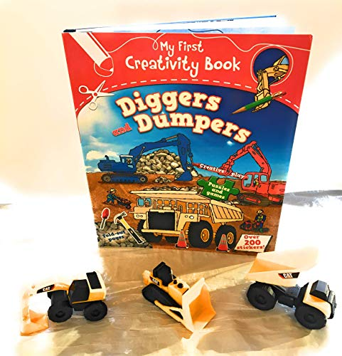 Diggers and Dumpers ( First Creativity Books) with 3 Toy State Caterpillar Construction Mini Machine - Cat Playset Builder Bridge