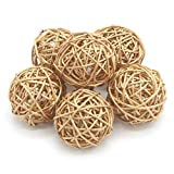 CAHEDSD Lucia Crafts 6Pcs 3Cm/5Cm Gold Vintage Wicker Cane Ball Christmas Home Gardens Patio Ornament DIY Decoration Materials 024006 6pcs 5cm