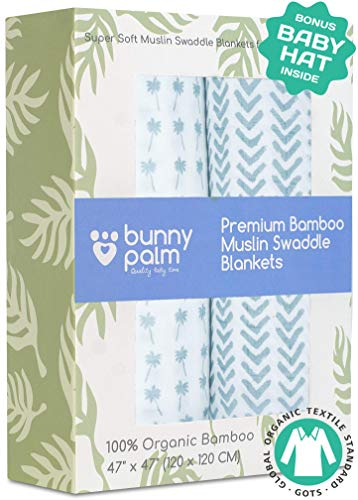 Muslin Swaddle Blankets - Organic Bamboo Swaddle Blanket Boys Set of 2 - Soft Baby Blanket - Nursery Swaddling - Newborn Receiving, Swaddle Wrap for Infant or Toddler - Shower Gift with Blue Palms ()