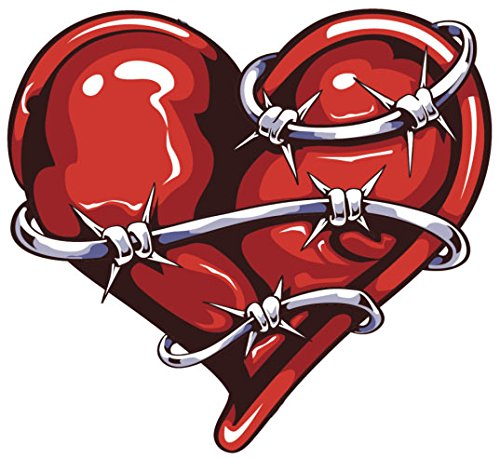 TATTOO STYLE BARBED WIRE HEART RED GREY BLACK WHITE vinyl Decal Sticker Two in One Pack (4 Inches Wide)