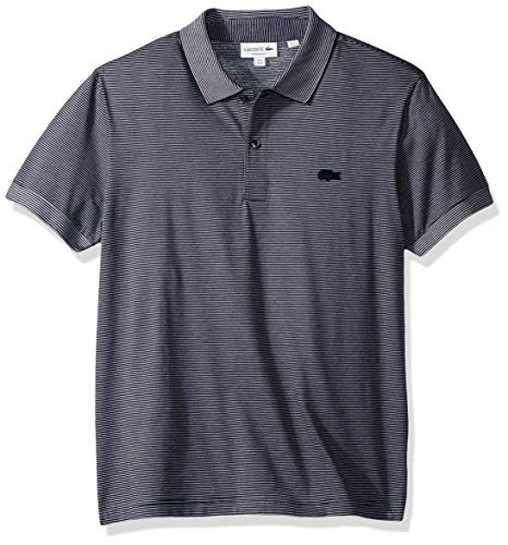 Lacoste Men's S/S Striped Jacquard Polo Regular FIT, Navy Blue/White, Large