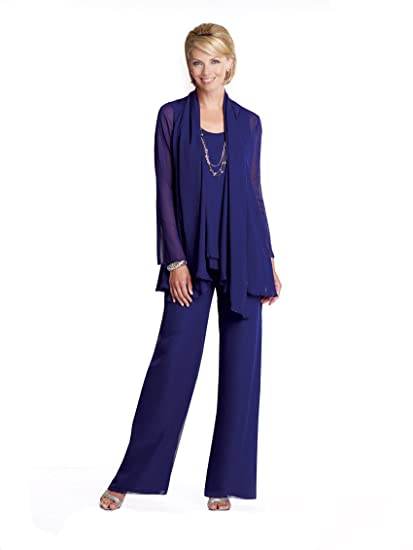12abb32c258 dressvip Dark Blue Chiffon 3 Pieces Suits Mother of The Bride Dress with  Trousers  Amazon.co.uk  Clothing
