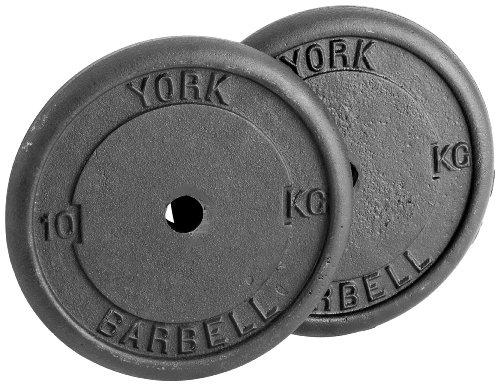 York Fitness Standard Cast Iron Discs - Matte Black, 2 x 10 kg:  Amazon.co.uk: Sports & Outdoors