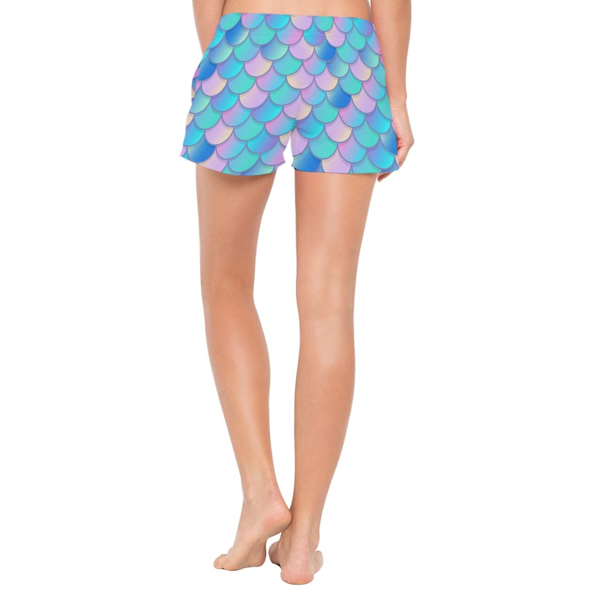 Women Swim Trunks Blue Pink Watercolor Mermaid Scale Pattern Beach Board Shorts