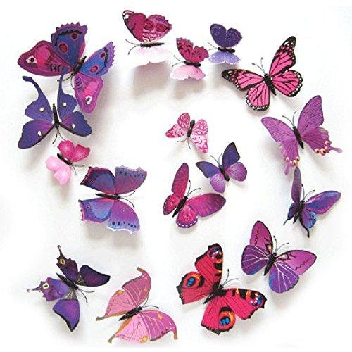 12PCS 3D PVC Magnet Butterflies DIY Wall Sticker Home Decor Purplish Red - 3