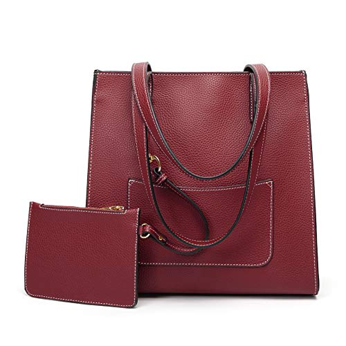 - ZJYSM Casual Fashion Wild New Mother Bag Cross-Border Fashion Bag European and American Style Lychee Pattern Shoulder Diagonal Ladies Bag Package (Color : Claret)