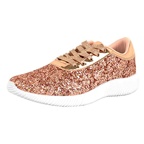 Glitter Pink Heels Shoes (Guilty Shoes Womens Fashion Glitter Metallic Lace Up Sparkle Slip On - Wedge Platform Sneaker Fashion Sneakers, Rosegoldv2 Glitter, 8 B(M) US)
