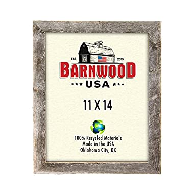 BarnwoodUSA Rustic 11 by 14 Inch Picture Frame with 1.25 Inch Wide Molding - 100% Reclaimed Wood, Weathered Gray
