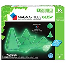 Magna-Tiles 16-Piece Glow in The Dark Set – LED Light Included – The Original, Award-Winning Magnetic Building Tiles – Creativity Educational – STEM Approved