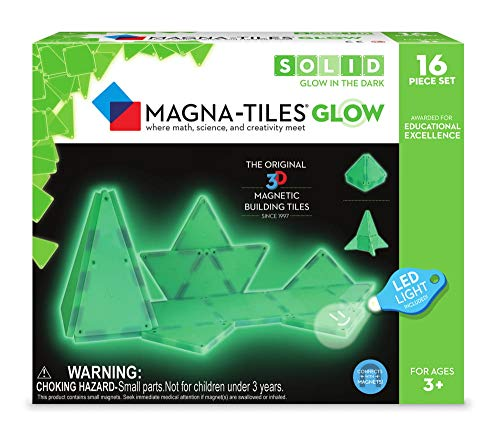 Magna-Tiles 16-Piece Glow in The Dark Set – LED Light Included – The Original, Award-Winning Magnetic Building Tiles – Creativity and Educational – STEM Approved