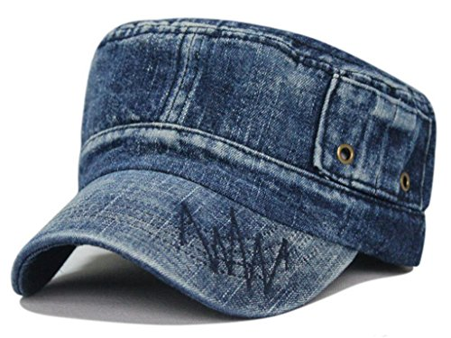 Gumstyle Mens Women Sport Leisure Cowboy Style Hat Army Plain Flat Top Cap Style2 Royalblue by Gumstyle
