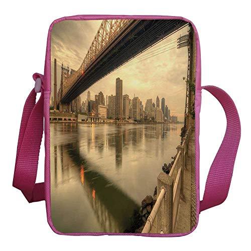 (United States Stylish Kids Crossbody Bag,Queensboro Bridge Spanning the East River in New York City Serene Scenery for Girls,9