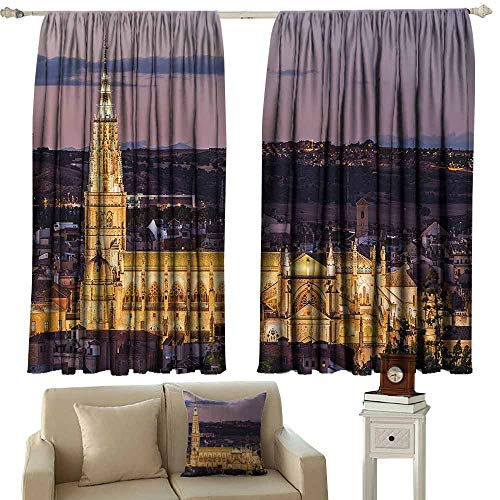 (Wanderlust Decor Collection Decorative Curtains For Living Room Dusk as the Flood Lights are Illuminated on Cathedral in Ancient City Of Toledo Spain Print 70%-80% Light Shading, 2 Panels,72