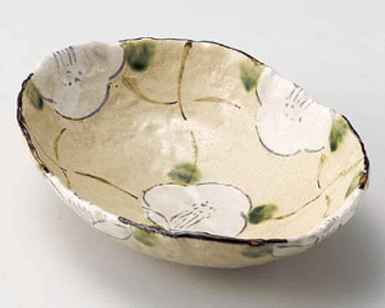 Kohshi Flower 8.4inch Set of 5 Medium Plates Beige Ceramic Made in Japan