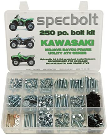 amazon com 250pc specbolt kawasaki utility atv bolt kit for klt ksf250pc specbolt kawasaki utility atv bolt kit for klt ksf klf kef kvf ksv \u0026 klf