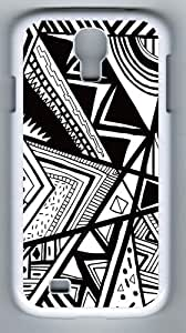 Samsung Galaxy S4 Cases,Samsung Galxy S4 Case-Black And White Doodle Designer PC Case Cover For Samsung Galaxy S4 / SIV / I9500 - White