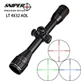 SNIPER LT 4X32 AOL Rifle Scope 1 inch Full Size Red, Green, blue Illuminate Reticle Mil-Dot RifleScope