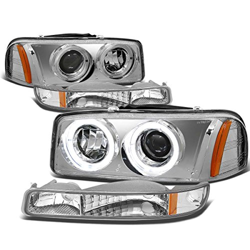 For 99-07 GMC Sierra/Yukon GMT800 4pc Chrome Housing Amber Corner Dual Halo Projector Headlight+Bumper Light -
