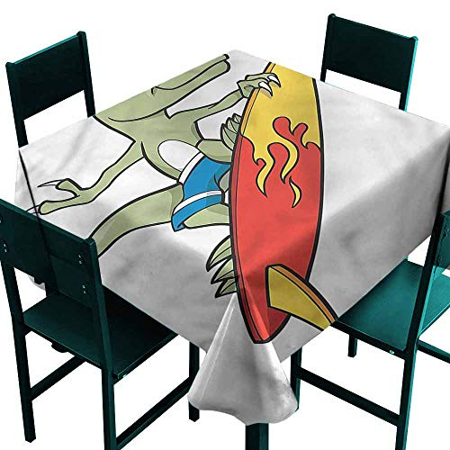 (Warm Family Reptile Elegance Engineered Tablecloth Funny Surfing T-rex in Sea Washable Polyester - Great for Buffet Table, Parties, Holiday Dinner, Wedding & More)
