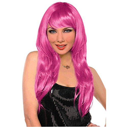 [Party Perfect Team Spirit Glam Long Wig Accessory, Pink, Synthetic Hair , 25
