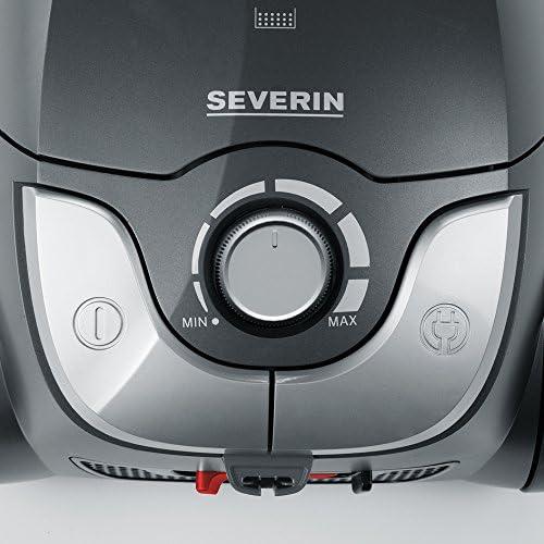 Severin BC 7055, Aspirateur Traîneau avec Sac (Classe Énergétique A, Buse Parquet et Set 3 Accessoires Inclus, S´POWER snowwhiteXL) Gris/Rouge