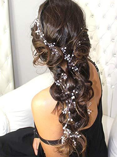 FXmimior Bridal Wedding Crystals Love Long Hair Vine Headband Wedding Evening Party Headpiece Extra long Hair Vine Silver Long Bride Hair Jewelry Hair Accessories 39.4IN
