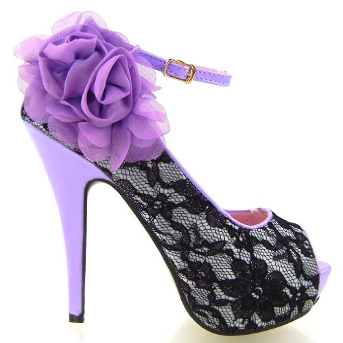 Show High LF30408 Flowers Peep Sexy Story Stiletto Platform Toe Shoes Heel Lace Purple qrAqBRF