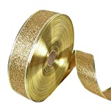 BleuMoo 200x5cm Glitter Christmas Xmas Satin Ribbon Party Accessories Gift (Gold)