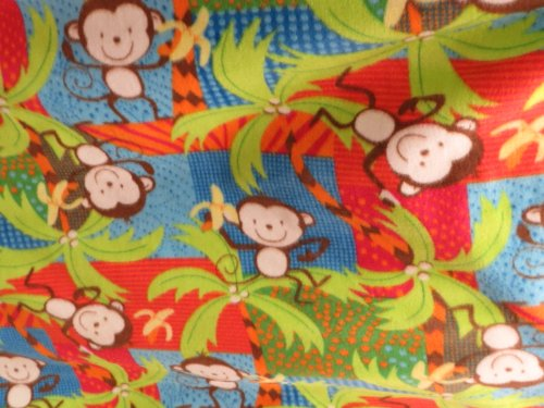 Monkey Jungle Fleece 58 Inch Wide Fabric By the Yard from The Fabric Exchange ® (Fleece Fabric Monkey)