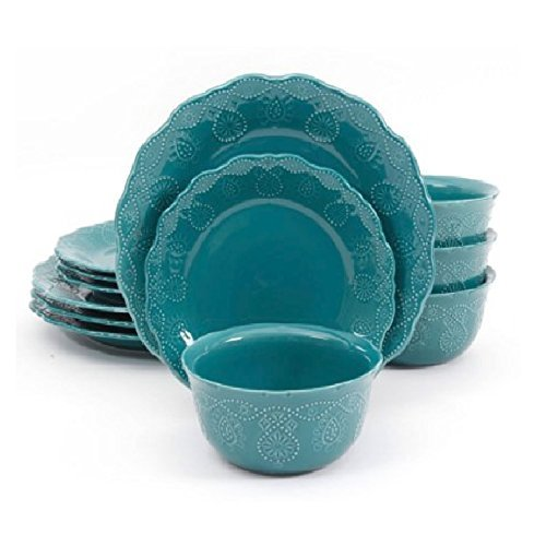 Pioneer Woman Dinnerware Set Ree Drummond 12 Pc Cowgirl Lace (Teal) Review