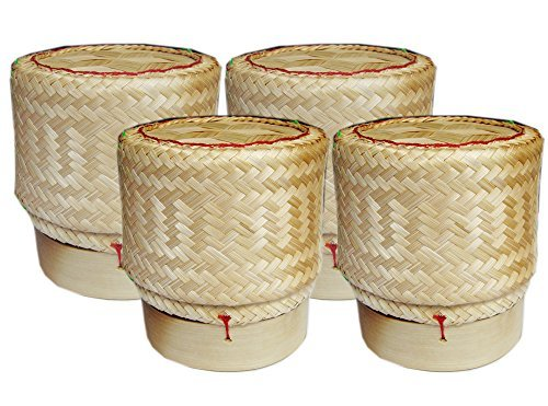 Thai Sticky Rice Basket Size 3 Inches (Pack of 4) Handmade Bamboo Rice Container by Tamegems