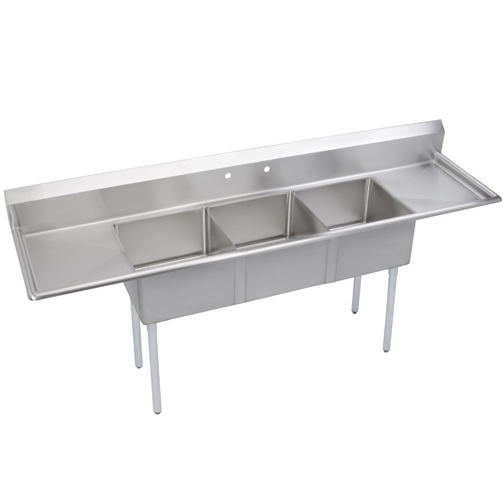 Fenix Sol 18G-3C18X18-218 Three Compartment Stainless Steel Sink, Bowl: 18''L x 18''W x 12''D, Overall Size: 90''L x 23.8''W x 43''H, 2 x 18'' Drainboards, Galv Legs