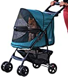 Pet Gear No-Zip Happy Trails Pet Stroller for Cats Dogs - Zipperless Entry - Easy Fold with Removable Liner - Storage Basket + Cup Holder
