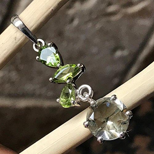 Peridot Journey Pendant - Natural 4ct Prasiolite Green Amethyst, Apple Green Peridot 925 Solid Sterling Silver Journey Pendant 40mm